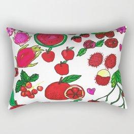 Red Fruits Drawing Rectangular Pillow