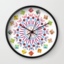 Gems and Butterflies Wall Clock
