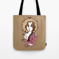 oscar wilde Tote Bags featuring Oscar Wilde Holy Writer by roberto lanznaster
