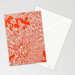Dahlia Lino Cut, Fiery Red Stationery Cards
