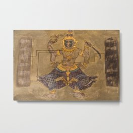 Wat Pho Thai Massage Accupressure Illustration Metal Print