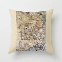 hogwarts Throw Pillows featuring Hogwarts Map by Sarah Paterson