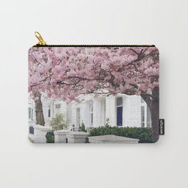 White house and pink flowers Carry-All Pouch