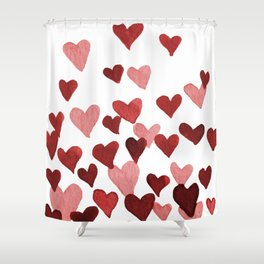 Valentine's Day Watercolor Hearts - red Shower Curtain
