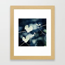 Heart Love Nature Photography, Hearts Botanical Print, Navy Blue Green Photograph, Bedroom Photo Framed Art Print