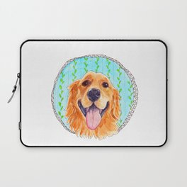You're Never Fully Dressed without a Smile, Golden Retriever, Whimsical Watercolor Painting, White Laptop Sleeve