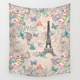 Paris - my love - France Nostalgy - pink French Vintage Wall Tapestry