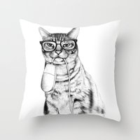 doctor Throw Pillows featuring Mac Cat by florever