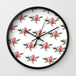 Magnolia bud pattern Wall Clock