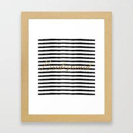 Bridesmaid & Stripes - Gold / Black Framed Art Print