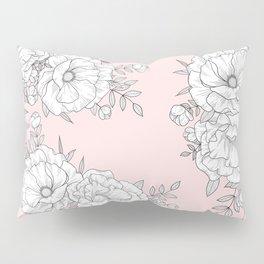Line floral on pink Pillow Sham