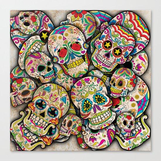Sugar Skull Collage Canvas Print