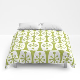 Mid Century Modern Atomic Fusion Pattern Chartreuse Comforters