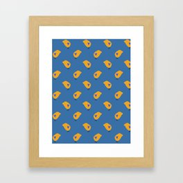 Sunny Family boy hand drawn home decor and textile design kids pattern on blue Framed Art Print