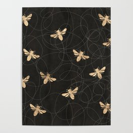 Busy Bees (Black) Poster