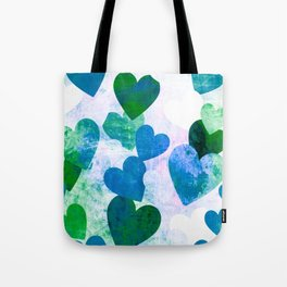Fab Green & Blue Grungy Hearts Design Tote Bag