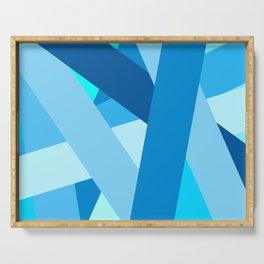 Retro Blue Mid-Century Minimalist Geometric Line Abstract Art Serving Tray