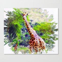 African Giraffe - Wondering Through Africa Canvas Print