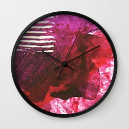You set me on fire: a vibrant, colorful mixed media piece in red, purple, black and white Wall Clock