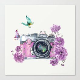 Camera with Summer Flowers 2 Canvas Print