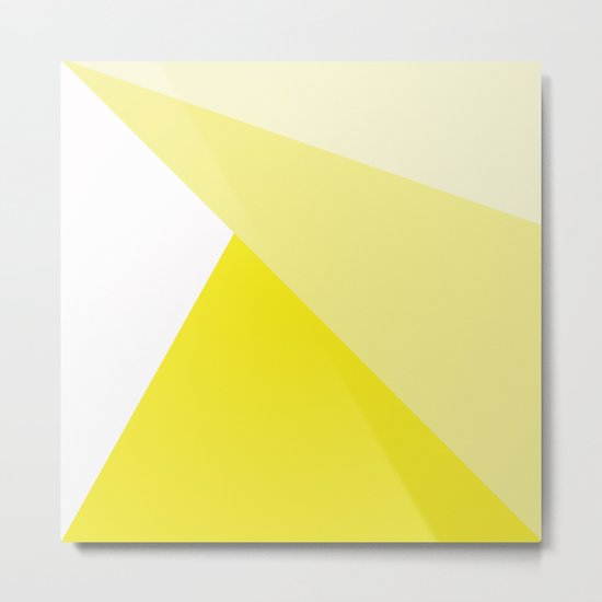 Simple Geometric Triangle Pattern- White on Yellow - Mix & Match with Simplicity of life Metal Print