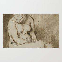 Nude Woman Seated on a Stool Rug