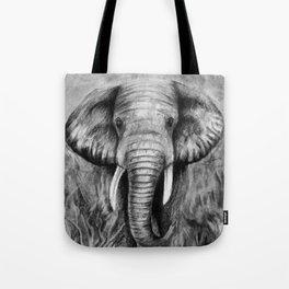 Charcoal Elephant Tote Bag
