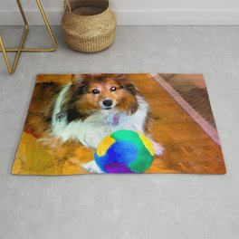 Sheltie with Ball Rug