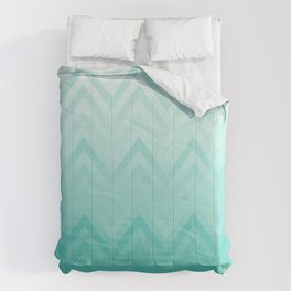 Fading Teal Chevron Comforters