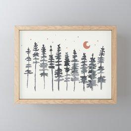 Nighttime Watercolor Forest Framed Mini Art Print