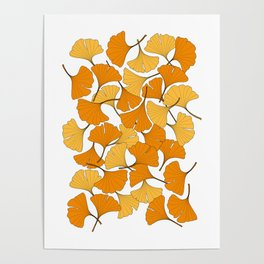 ginkgo leaves (orange) Poster