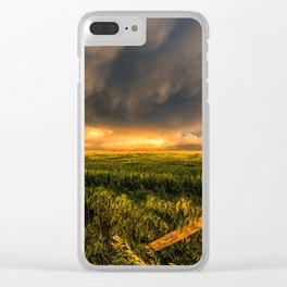 Breadbasket - Golden Light Illuminates Fence and Field in Kansas Clear iPhone Case