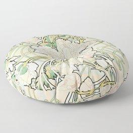 Alphonse Mucha - Peonies,1897 Floor Pillow