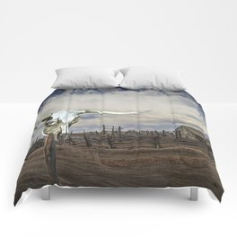 Steer Skull and Western Fenced Corral Comforters