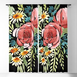 watercolor flower bouquet // peony, rose, daisy, bluebells Blackout Curtain