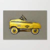yowamushi pedal Canvas Prints featuring Yellow Taxi Pedal Car by Michelle L. Calkins