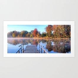 Autumn Fishing Dock Panorama Art Print