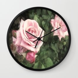 Pink Roses in Anzures 1 Vintage Wall Clock