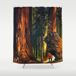 'Redwoods, Yosemite Forest' landscape painting by Gilbert Munger Shower Curtain