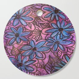 Vibrant Blue Flower Pops Cutting Board