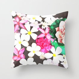 White and Pink Flowers Throw Pillow