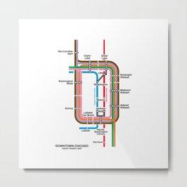 Downtown Chicago Loop Map Metal Print