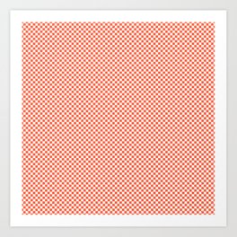 Small Living Coral Color of the Year in Coral Orange and White Checkerboard Art Print
