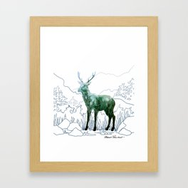 Watercolor Deer on Line Drawn Mountain Framed Art Print