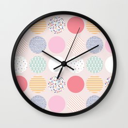 Pastel Blush Patterned Spot Wall Clock