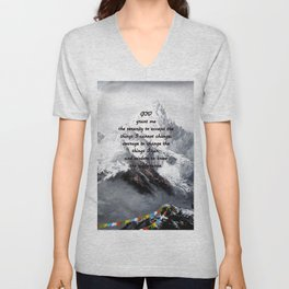 Serenity Prayer With Panoramic View Of Everest Mountain Unisex V-Neck