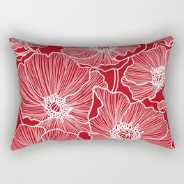 Holly Berry Red Poppies Drawing Rectangular Pillow