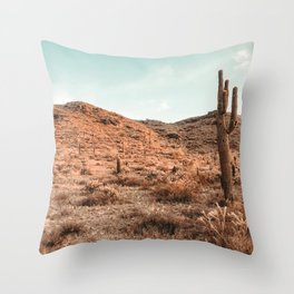 Saguaro Mountain // Vintage Desert Landscape Cactus Photography Teal Blue Sky Southwestern Style Throw Pillow