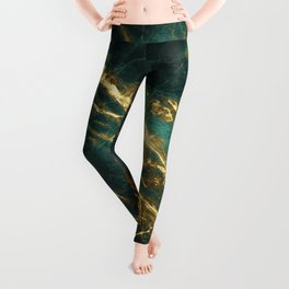 Glamorous Green Faux Marble Pattern With Gold Veins Leggings