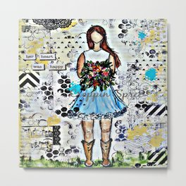 Handmade and hand stamped mixed media art: Country Girl. Metal Print